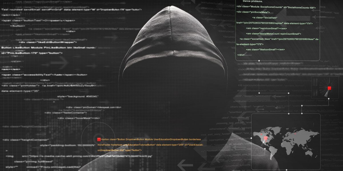 Shadowy Figure in Black Hood on Dark Background with Code Text Overlay
